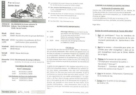 feuille paroissiale semaine du 09/09 au 15/09